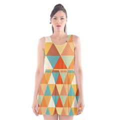 Triangles Pattern  Scoop Neck Skater Dress