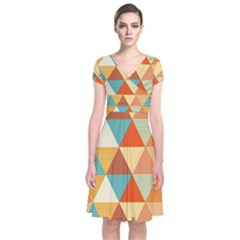 Triangles Pattern  Short Sleeve Front Wrap Dress