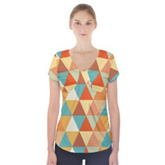 Triangles Pattern  Short Sleeve Front Detail Top