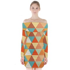 Triangles Pattern  Long Sleeve Off Shoulder Dress