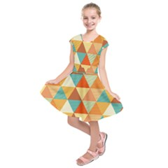Triangles Pattern  Kids  Short Sleeve Dress