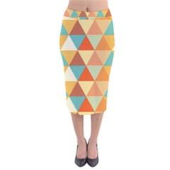 Triangles Pattern  Velvet Midi Pencil Skirt