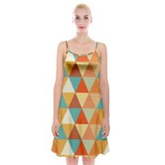 Triangles Pattern  Spaghetti Strap Velvet Dress