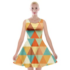 Triangles Pattern  Velvet Skater Dress