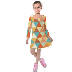 Triangles Pattern  Kids  Long Sleeve Velvet Dress