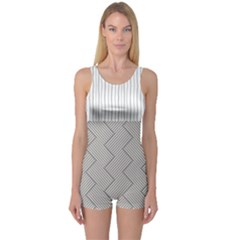 Lines and stripes patterns One Piece Boyleg Swimsuit