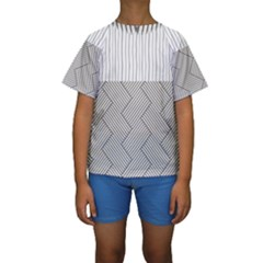 Lines and stripes patterns Kids  Short Sleeve Swimwear