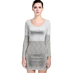 Lines and stripes patterns Long Sleeve Bodycon Dress