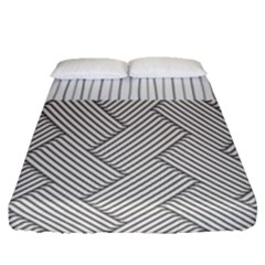 Lines and stripes patterns Fitted Sheet (Queen Size)
