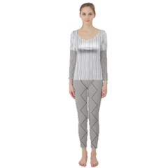 Lines and stripes patterns Long Sleeve Catsuit