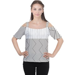 Lines and stripes patterns Women s Cutout Shoulder Tee