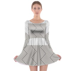 Lines and stripes patterns Long Sleeve Skater Dress