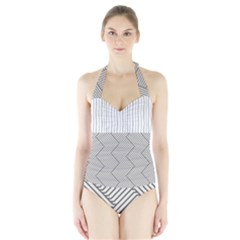Lines and stripes patterns Halter Swimsuit