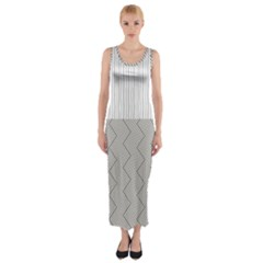 Lines and stripes patterns Fitted Maxi Dress