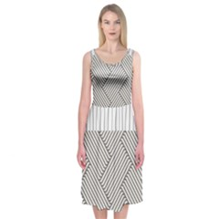 Lines And Stripes Patterns Midi Sleeveless Dress