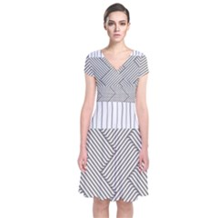 Lines And Stripes Patterns Short Sleeve Front Wrap Dress