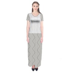 Lines And Stripes Patterns Short Sleeve Maxi Dress