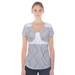 Lines And Stripes Patterns Short Sleeve Front Detail Top