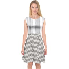 Lines And Stripes Patterns Capsleeve Midi Dress