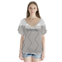 Lines And Stripes Patterns Flutter Sleeve Top