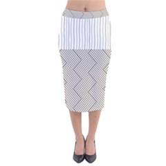 Lines And Stripes Patterns Velvet Midi Pencil Skirt