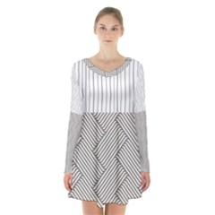Lines and stripes patterns Long Sleeve Velvet V-neck Dress