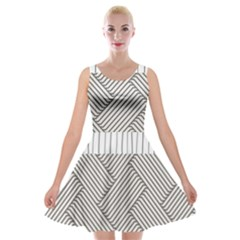 Lines And Stripes Patterns Velvet Skater Dress