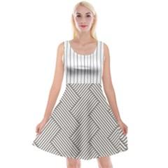 Lines And Stripes Patterns Reversible Velvet Sleeveless Dress