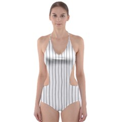 Hand drawn lines pattern Cut-Out One Piece Swimsuit