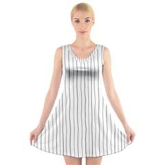 Hand drawn lines pattern V-Neck Sleeveless Skater Dress