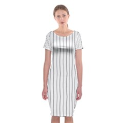 Hand Drawn Lines Pattern Classic Short Sleeve Midi Dress