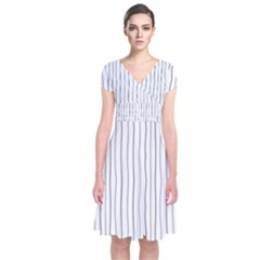 Hand Drawn Lines Pattern Short Sleeve Front Wrap Dress