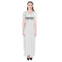 Hand Drawn Lines Pattern Short Sleeve Maxi Dress