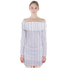 Hand Drawn Lines Pattern Long Sleeve Off Shoulder Dress