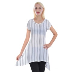 Hand Drawn Lines Pattern Short Sleeve Side Drop Tunic