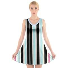 Stripey V-Neck Sleeveless Dress
