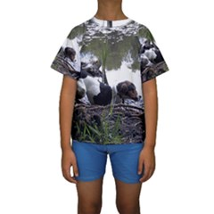 Treeing Walker Coonhound In Water Kids  Short Sleeve Swimwear