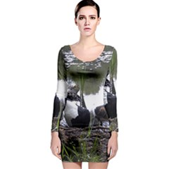 Treeing Walker Coonhound In Water Long Sleeve Bodycon Dress