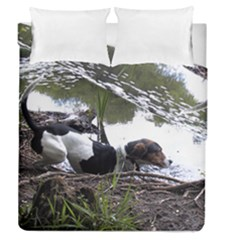Treeing Walker Coonhound In Water Duvet Cover Double Side (Queen Size)