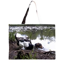 Treeing Walker Coonhound In Water Large Tote Bag