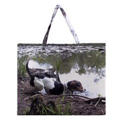 Treeing Walker Coonhound In Water Zipper Large Tote Bag