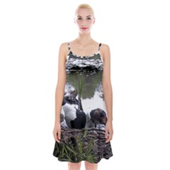 Treeing Walker Coonhound In Water Spaghetti Strap Velvet Dress