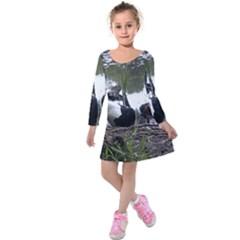Treeing Walker Coonhound In Water Kids  Long Sleeve Velvet Dress