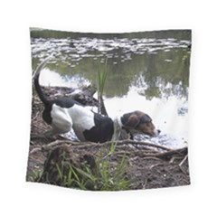 Treeing Walker Coonhound In Water Square Tapestry (Small)