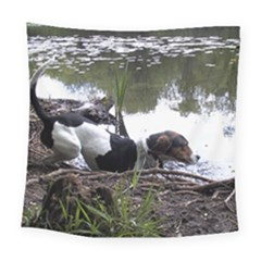 Treeing Walker Coonhound In Water Square Tapestry (Large)