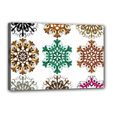A Set Of 9 Nine Snowflakes On White Canvas 18  x 12