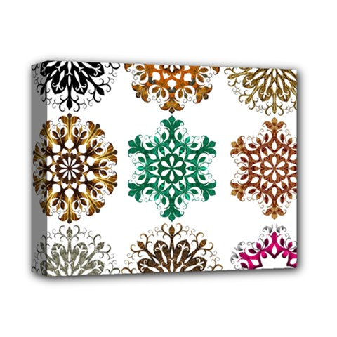 A Set Of 9 Nine Snowflakes On White Deluxe Canvas 14  X 11