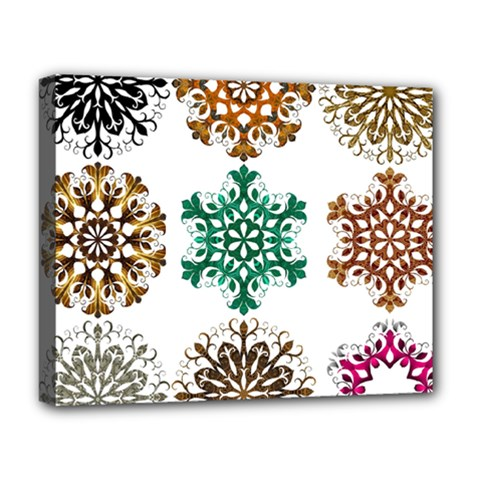A Set Of 9 Nine Snowflakes On White Deluxe Canvas 20  X 16