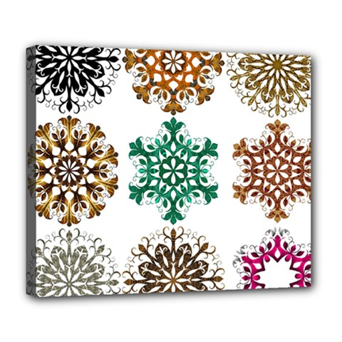 A Set Of 9 Nine Snowflakes On White Deluxe Canvas 24  X 20