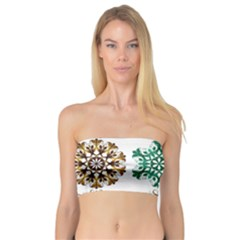 A Set Of 9 Nine Snowflakes On White Bandeau Top